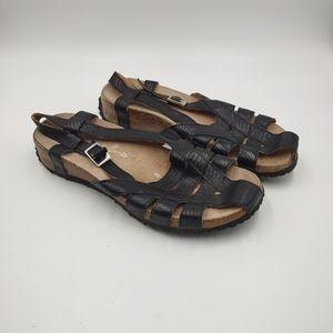 Haflinger German Black Strappy Sandals Size 9